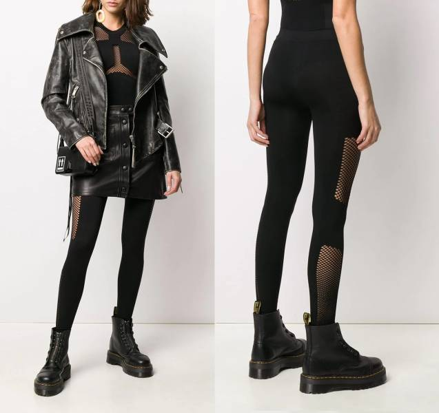 Unravel Project 女款黑色中腰鏤空彈性緊身褲  XS/S/M