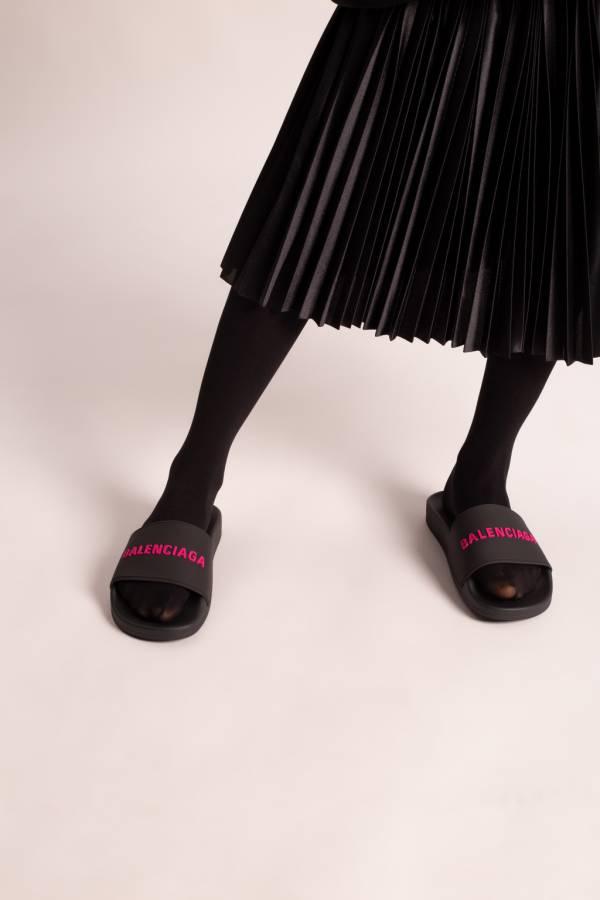 Balenciaga   女款 Logo 橡膠拖鞋 黑色 IT 36/37/38