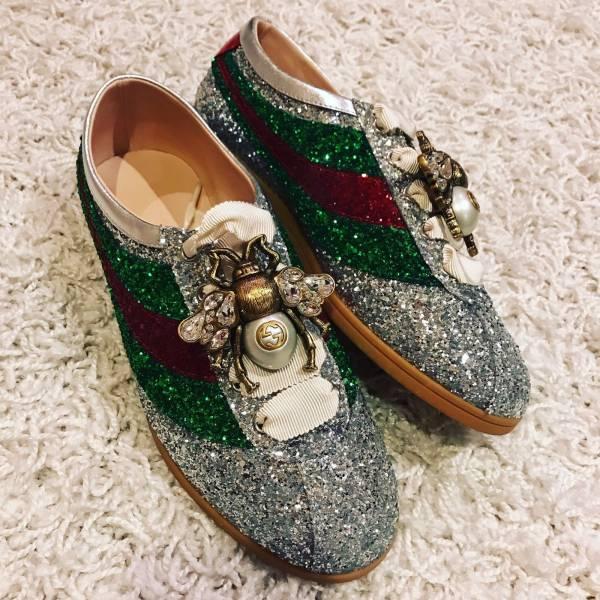 Gucci Falacer 可拆卸珍珠蜜蜂裝飾閃光球鞋   IT35/35.5/36/36.5/37.5/38