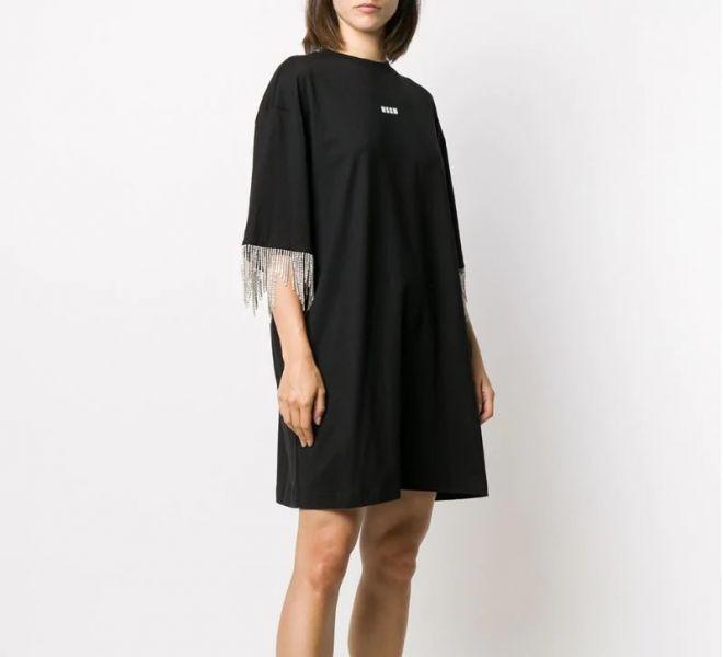MSGM 女款黑色棉質水晶流蘇條紋T卹連衣裙  XS / S