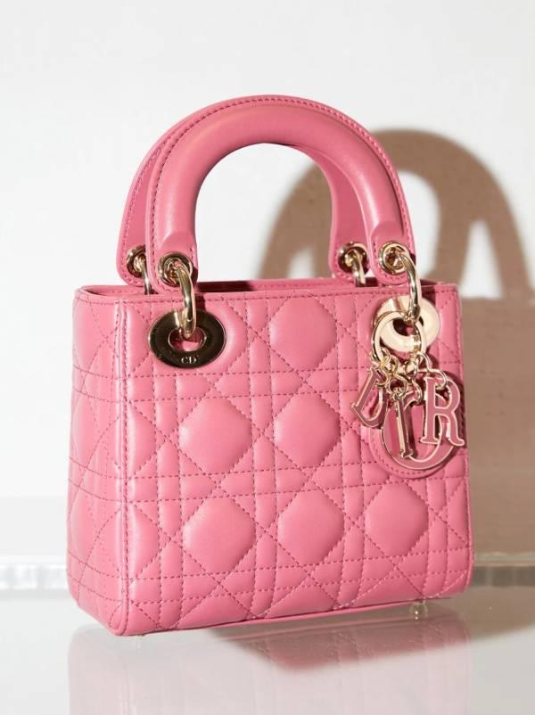 Dior Cannage 藤格紋圖案  迷你 Lady Dior 羊皮戴妃包   淡金色五金 粉色 dior 黛妃包