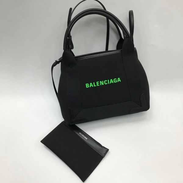Balenciaga 390346 XS 黑色棉帆布和光滑小牛皮海軍藍    經典帆布 2用包