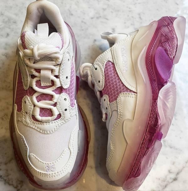 Balenciaga Triple S Clear 女款老爹運動鞋  粉色  IT 40