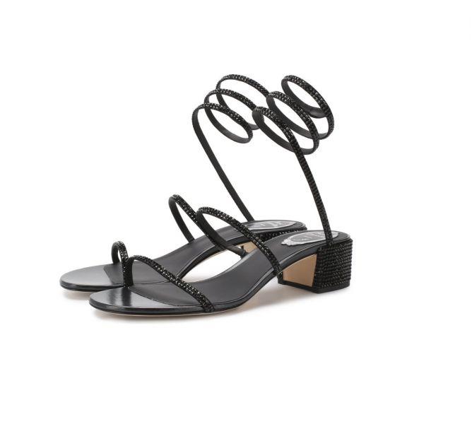 Rene Caovilla 黑色水晶蛇環Cleo 4cm低跟涼鞋      IT 35/35.5/36/36.5/37/37.5/38/39