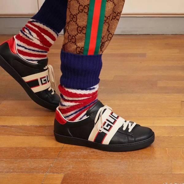Gucci Ace 男款Logo 織帶黑球鞋   UK 5/5.5/6/6.5/7/7.5/8/8.5/9 /10