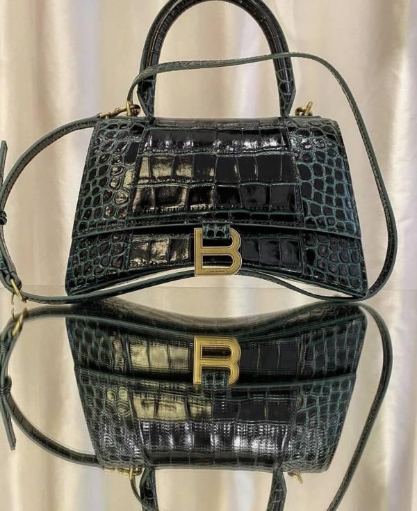 Balenciaga 5935461 小款 Hourglass S 鱷魚紋小牛皮沙漏包    森林綠色