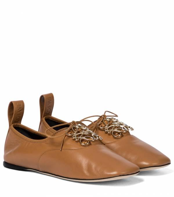 Loewe 女款納帕小羊皮平底繫帶圓頭德比鞋    IT 35/36/37/38/39/40    沙漠黃 LOEWE,Hammock