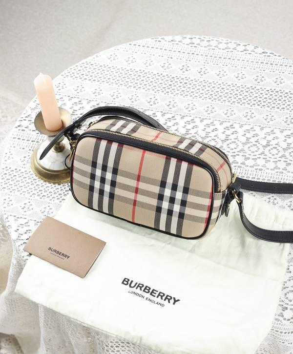Burberry 80223451 迷你 Horseferry格紋帆布相機包  可做肩背/腰包