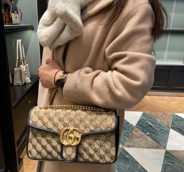 Gucci  443497 GG Marmont 絎縫 GG帆布 26cm 金鍊包