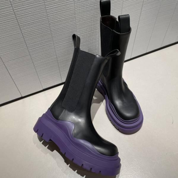 Bottega Veneta 女款拉伸套穿疊層鞋底的中筒靴   黑色/紫色     IT 35/36/36.5/37/38/38.5/39/40/41