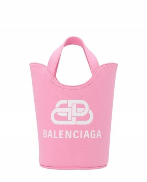 Balenciaga 619979 Wave XS 帆布和亞麻購物袋   粉 付肩帶