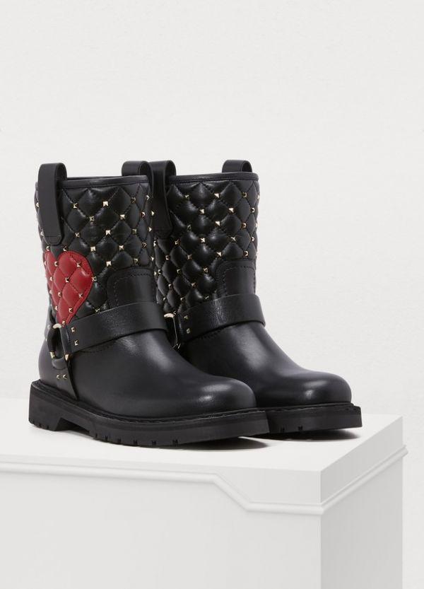 Valentino Garavani Rockstud Spike Nappa 羊皮心型圖紋機車靴    IT 37/38/39