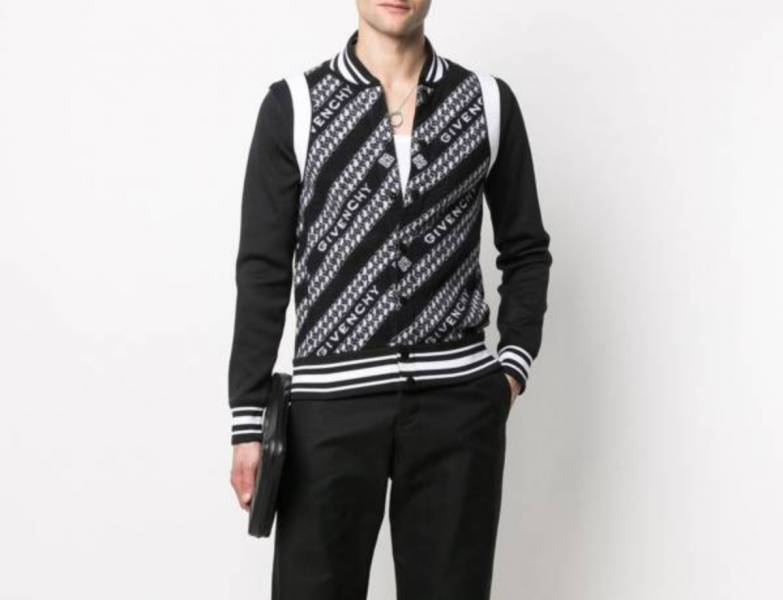 Givenchy 男款鏈條標誌印花羊毛外套  S/M