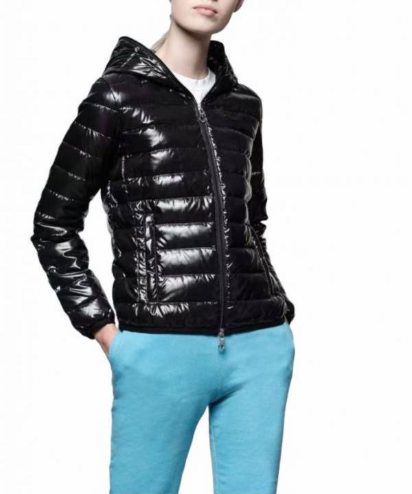 Duvetica 女款連帽短款光面薄款羽絨外套夾克 黑色  適合四季使用   IT40XS/42S/44M