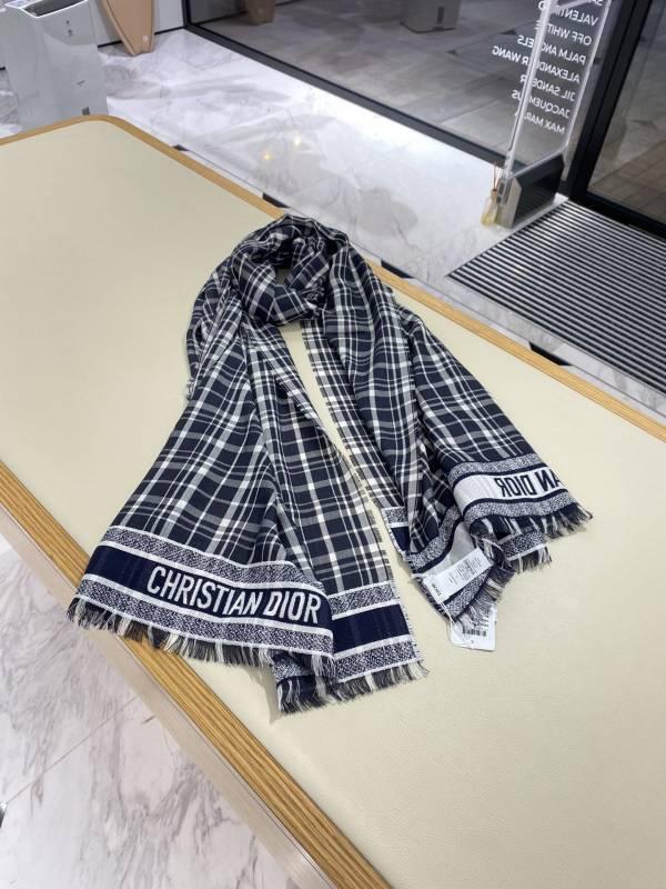 Dior 迪奧女款海軍藍方格圖案喀什米爾絲棉披肩/圍巾