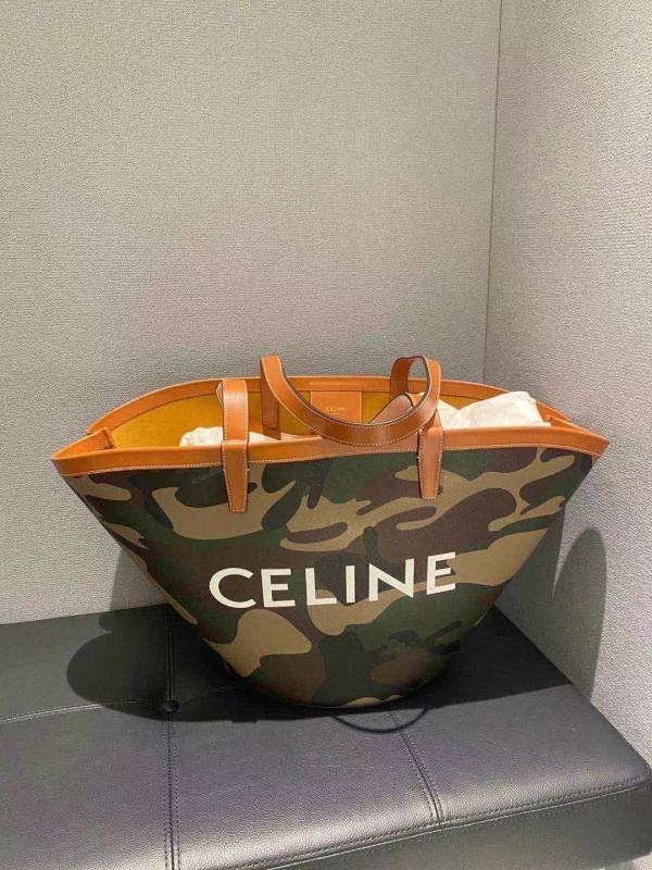 Celine 迷彩印花印花帆布大型 Couffin 肩背包