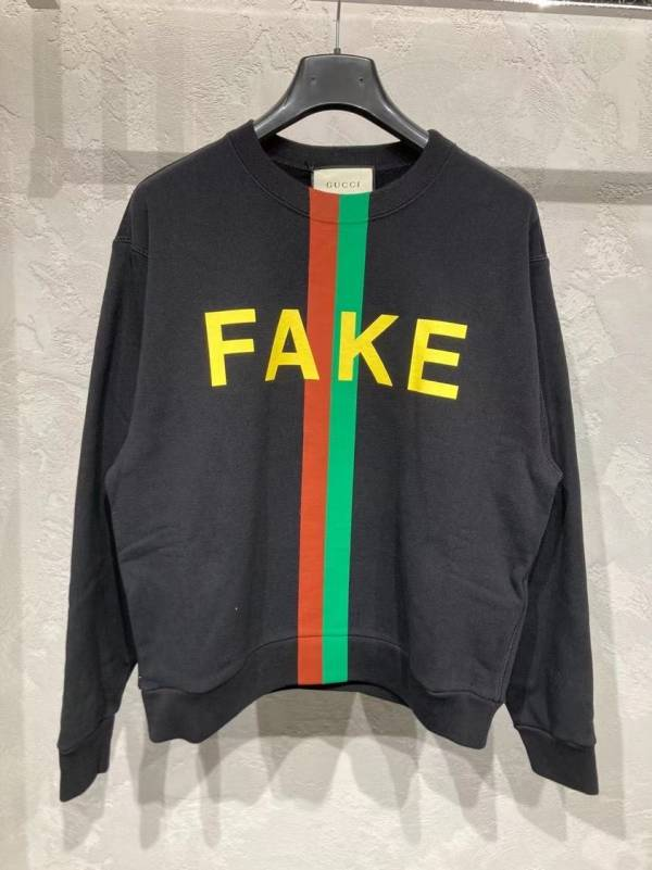 Gucci 中性款Fake/Not印花棉質T-Shirt 衛衣  S/M/L