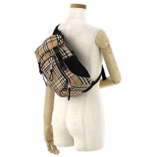 Burberry 80144301 男款格紋徽標單肩帶後背包