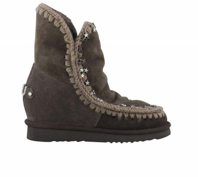 Mou英國頂級愛斯基摩Eskimo 內增高星星裝飾羊毛靴鞋 褐棕色    IT36/37/38/39/40 YSL COLLEGE學院包