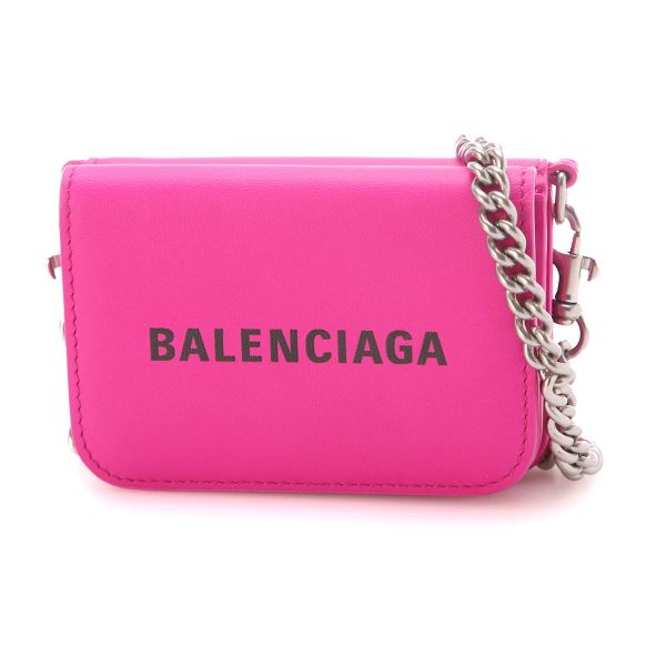 Balenciaga 細滑小牛皮迷你短夾錢包WOC 桃粉色