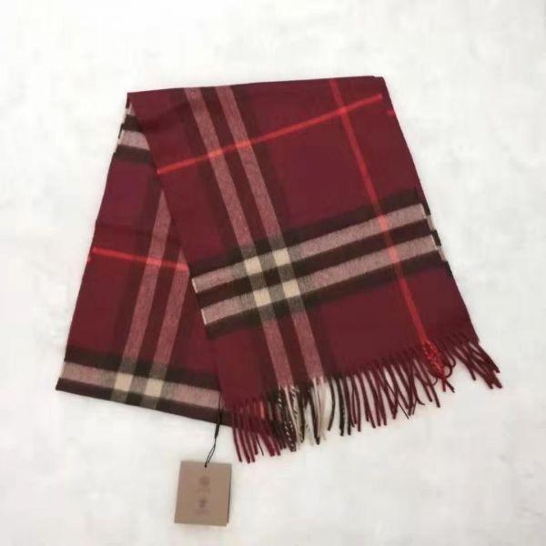 Burberry 80216951 格紋經典喀什米爾圍巾  勃艮第酒红色