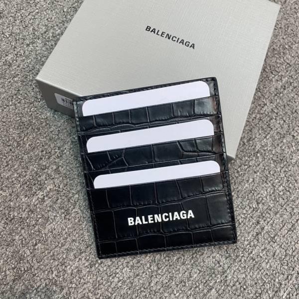 Balenciaga 6556841 鱷魚小牛皮卡夾 黑色
