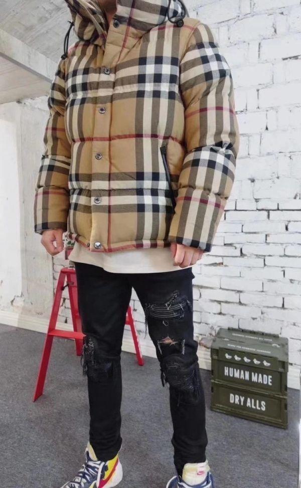 Burberry 男款可拆袖格紋棉質連帽羽絨外套 樺木棕   S/M/L