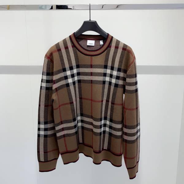 Burberry 中性款 格紋美麗諾羊毛提花套頭衫  S/M/L/XL