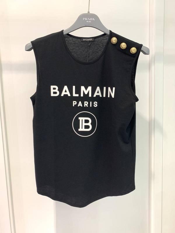 Balmain 黑色 Logo 金色鈕釦棉質T shirt 無袖上衣 黑色     FR 36S