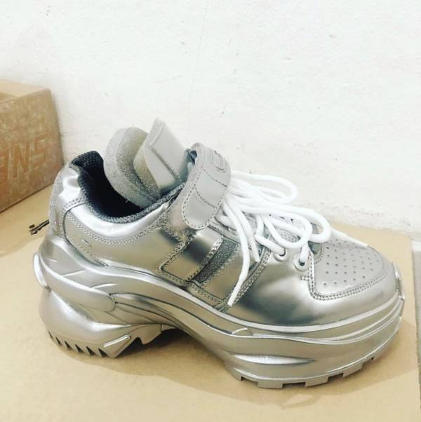 Maison Margiela 女款 Retro Fit 銀色皮革魔術貼老爹運動鞋   IT 35/36/37/37.5/38/38.5/39/39.5/40/41