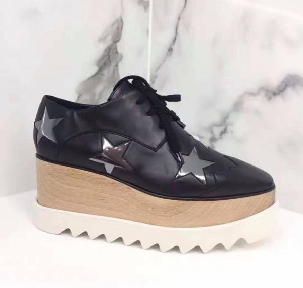 Stella McCartney Elyse 銀色星星黑色厚底鞋     IT37/37.5/38