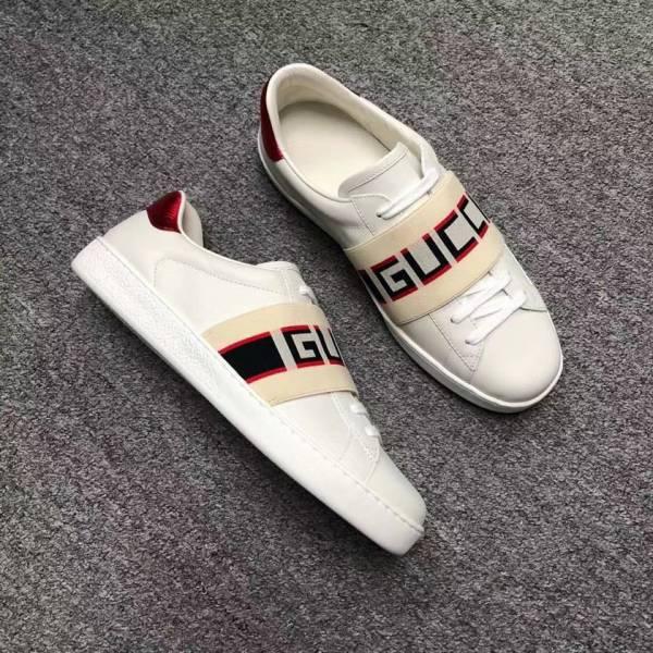 Gucci Ace 男款Logo 織帶白球鞋   UK 5/5.5/7/7.5/8/8.5/9