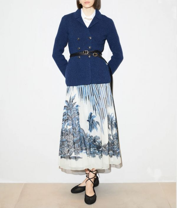 Dior 藍色和白色全棉薄紗中長百褶半身裙   Dior Palms 主題圖案 Bottega Veneta