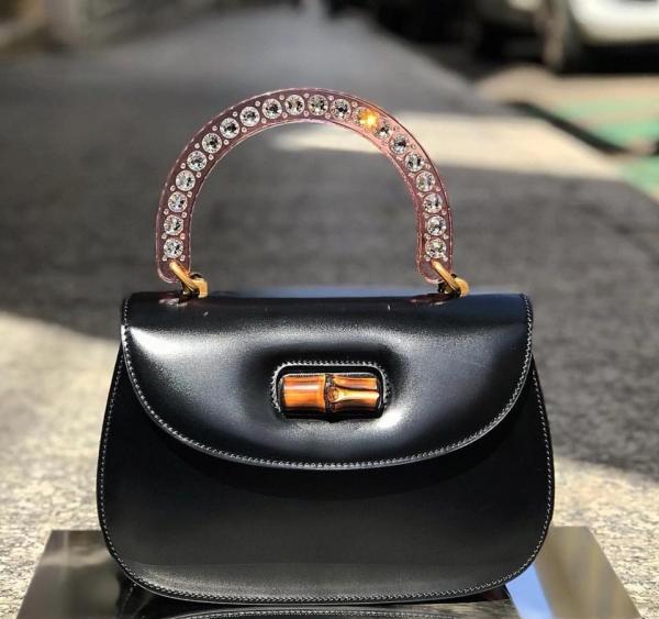 Gucci  499631 玫瑰色水晶裝飾竹節提把黑色小牛皮兩用包