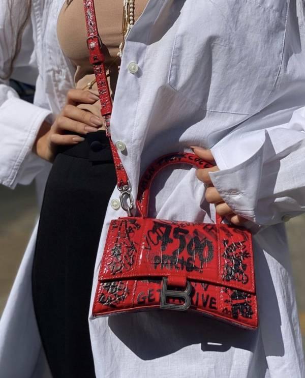 Balenciaga 鱷魚皮 Hourglass 塗鴉沙漏包 XS  紅色