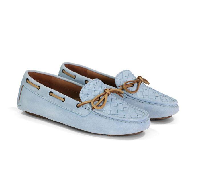 Bottega Veneta 女款 283058 藍天色小羊皮編織樂福鞋  IT 39/41