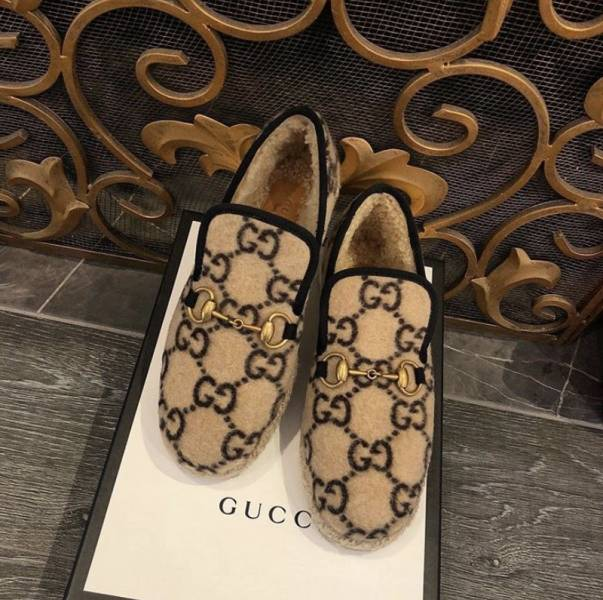 Gucci 女款 GG 羊毛軟莫卡辛樂福鞋    IT 35.5/36/36.5/37/39