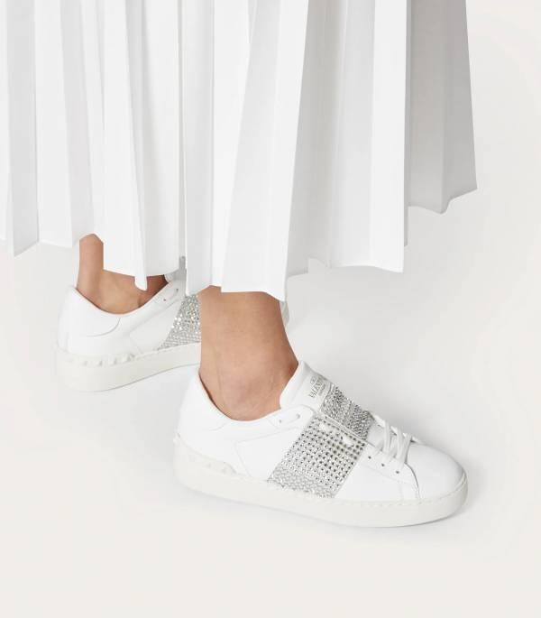 Valentino Garavani 女款 Open水晶裝飾運動小白鞋    IT35/36/36.5/37/37.5/38/39