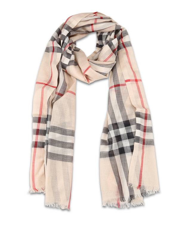 Burberry 80154071 輕盈格紋羊毛絲綢圍巾石色