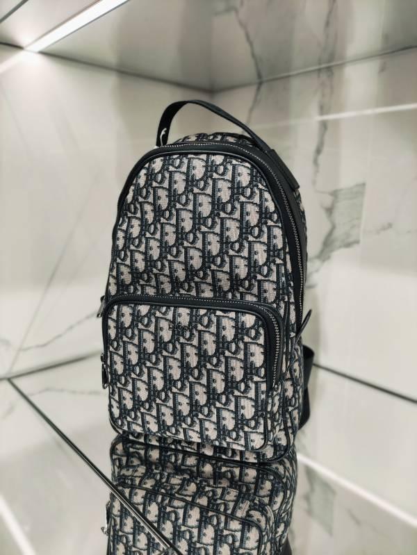 Dior 迪奧米色和黑色Oblique 緹花 斜背背包