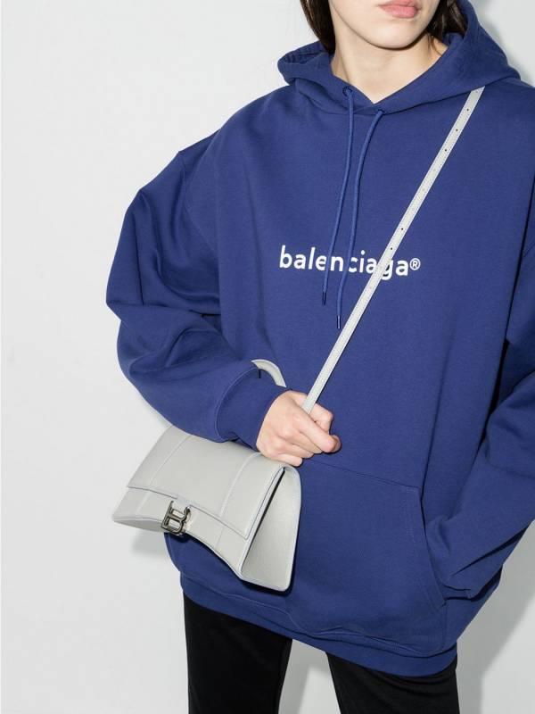 Balenciaga 小款Hourglass 捶紋小牛皮沙漏2用包  灰色