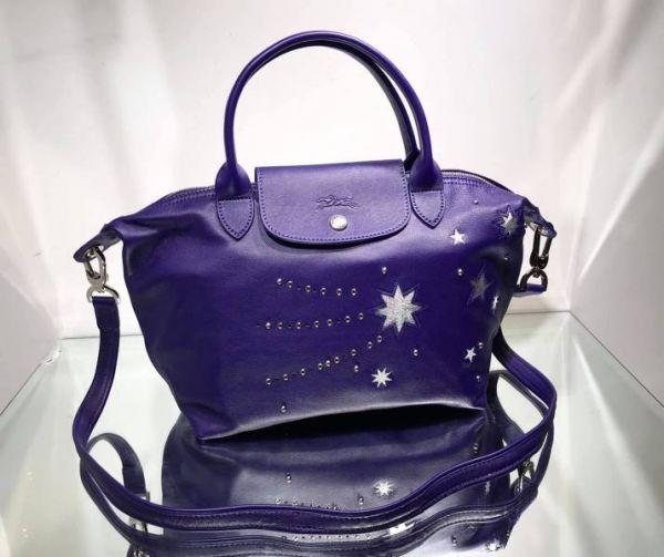 Longchamp Le Pliage Cuir 1512 星空紫水晶小款小羊皮兩用包