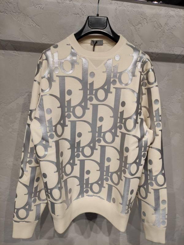 Dior 男款寬身反光  Dior Oblique  白色羊毛平織布毛線衫上衣    S/M DIORHOMME