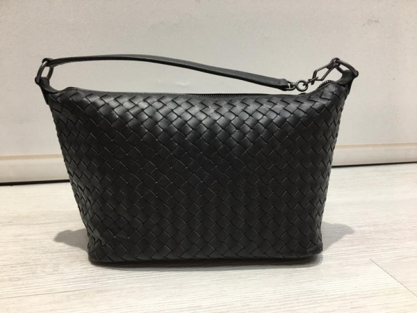 Bottega Veneta黑色小羊皮 239988 編織肩背包