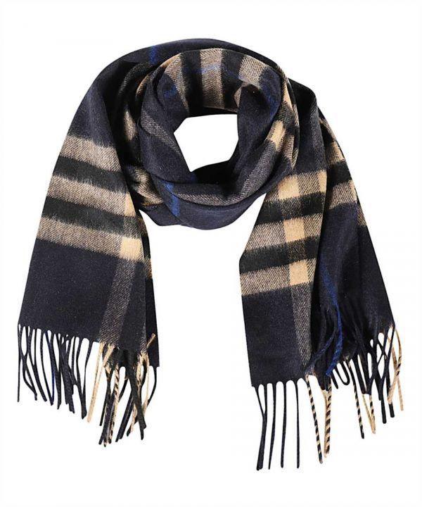 Burberry 格紋經典喀什米爾圍巾  靛藍色和駝色
