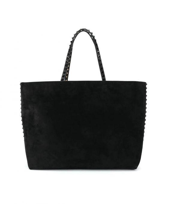 Valentino Rockstud 壓克力鉚釘小牛皮托特包購物袋 黑色