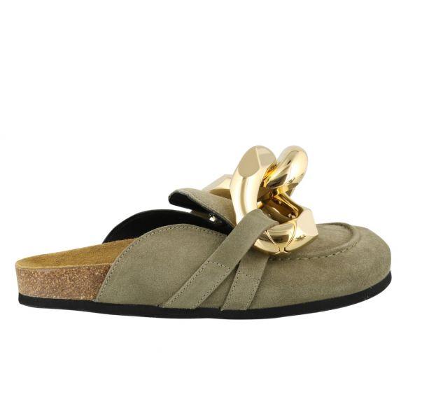 JW Anderson 小牛皮金鍊裝飾女款平底鞋/拖鞋 灰色麂皮  IT35/36/37/38/39