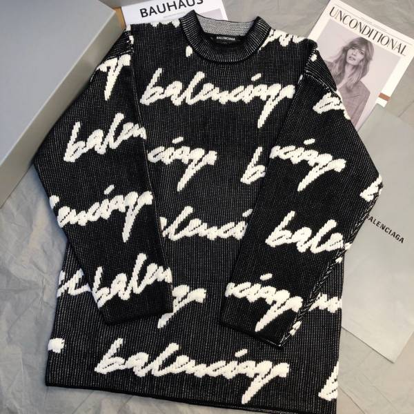 Balenciaga 中性款 3D可伸縮棉質針織長袖圓領毛衣  S/M