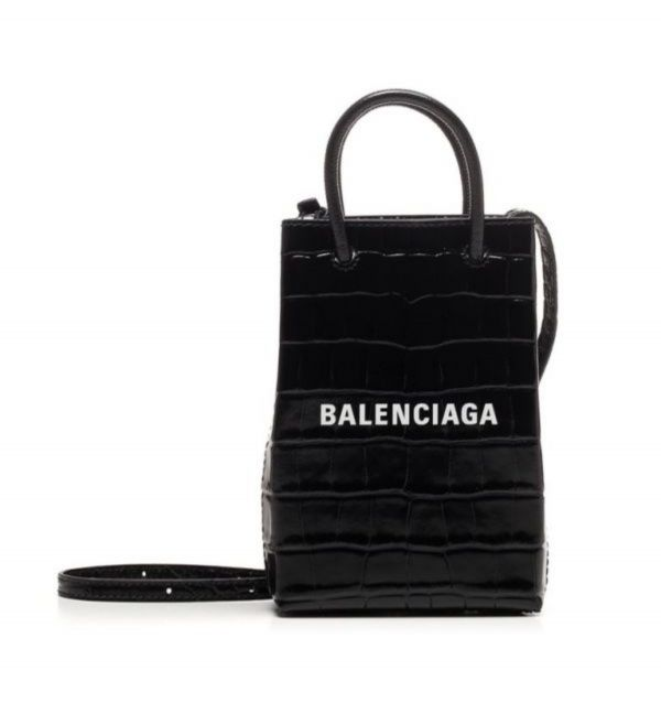 Balenciaga 593826 Shopper Phone 黑色鱷魚紋小牛皮迷你肩背包