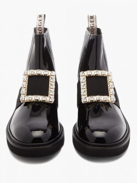 Roger Vivier Rangers 切爾西水晶方釦短靴/踝靴   黑色    IT 35.5/36/36.5/37/37.5/38/38.5